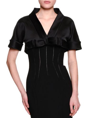 Short-Sleeve Shrug W/Bow, Black