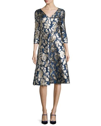 Foil-Floral 3/4-Sleeve V-Neck Dress, Navy