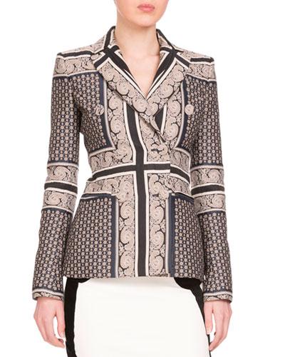 Alexandria Double-Breasted Mixed-Print Jacket, Navy