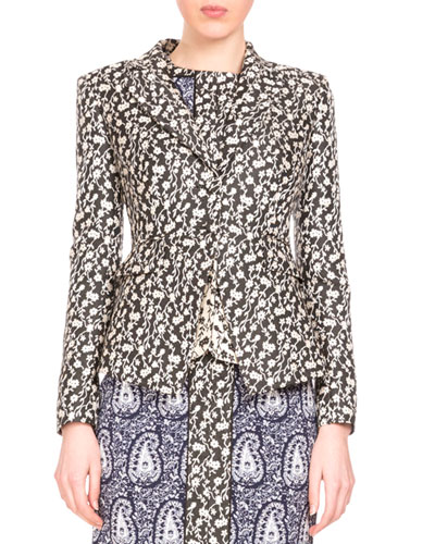 Parthia Floral-Print Double-Hem Jacket, Black/Natural White