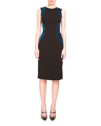 Allie Sleeveless Combo Sheath Dress, Black
