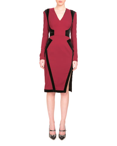 Becca Long-Sleeve Two-Tone Dress, Burgundy