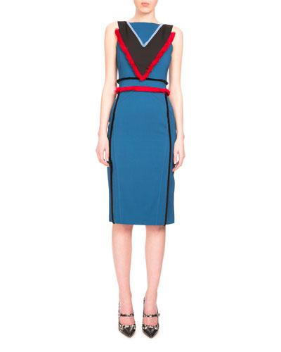 Caufield Colorblock Dress W/Fringe Trim, Sapphire