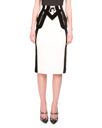 Wiley Drawstring-Waist Pencil Skirt, Natural White