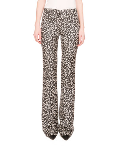 Serge Floral-Print Boot-Cut Pants, Black/Natural White