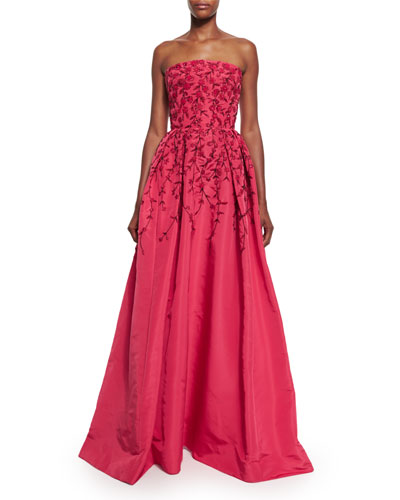 Floral-Embroidered Strapless Ball Gown, Raspberry/Black