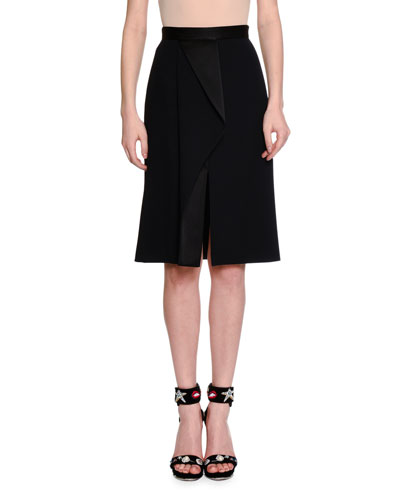 High-Waist Fold-Pleated Skirt, Black