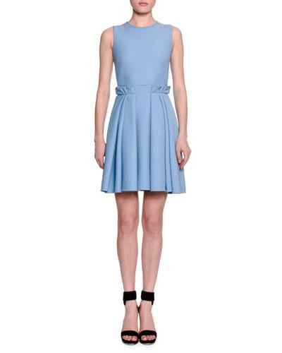 Sleeveless Paperbag-Waist Mini Dress, Dream Blue