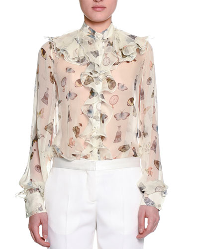 Obsessions Ruffled-Trim Blouse, White/Mix