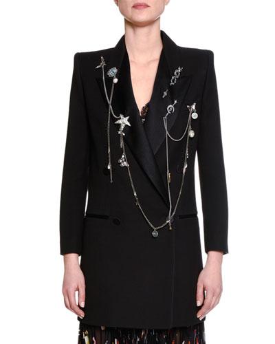 Double Chain-Embellished Tuxedo Jacket, Black