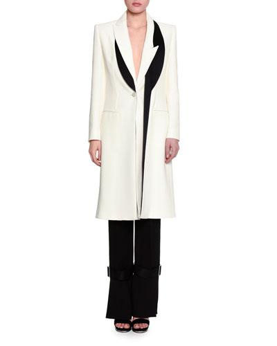 Asymmetric-Lapel One-Button Long Coat, Silk White/Black