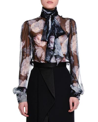 Midnight Bloom-Print Tie-Neck Blouse, Black/Mix