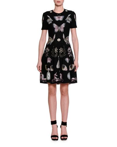 Obsessions Jewel-Neck Fit-&-Flare Dress, Black/Multi/Pink