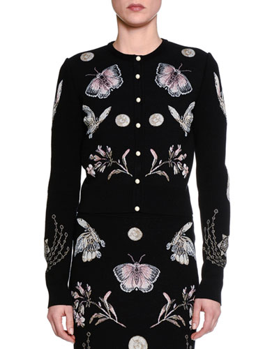 Obsessions Button-Front Cardigan, Black/Multi/Pink
