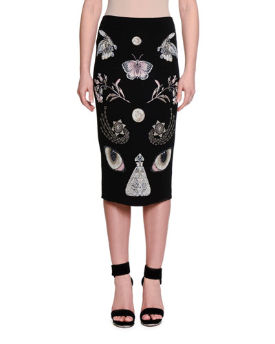 Obsessions At-The-Knee Pencil Skirt, Black/Multi/Pink
