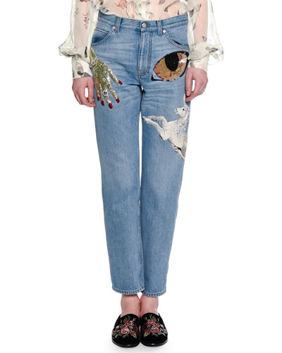 Icon Embroidered Boyfriend Ankle Jeans, Indigo