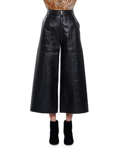 High-Waist Leather Culottes, Washed Black