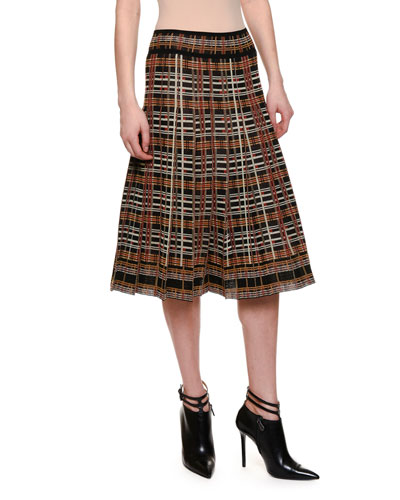 Mid-Rise Pleated A-Line Skirt, Multi Colors