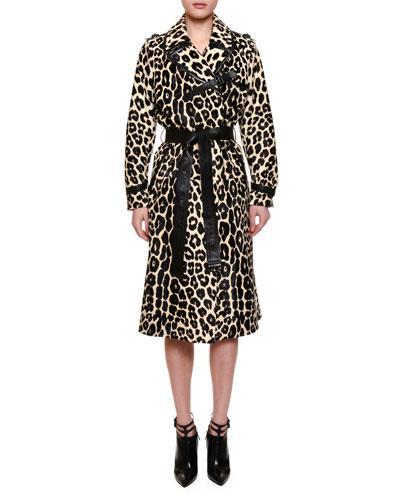 Belted Leopard-Print Fur Trenchcoat, Black
