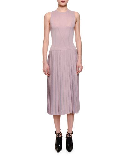 Sleeveless Pleated-Skirt Midi Dress, Rose Bouvard