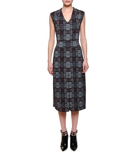 Sleeveless V-Neck Plaid Sheath Dress, Mink Black