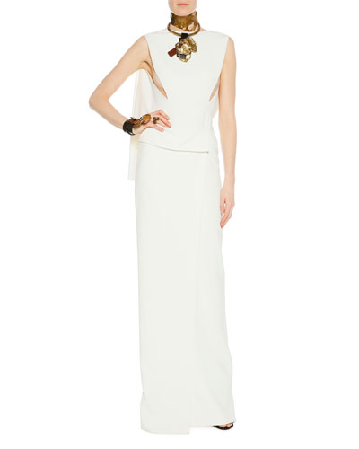 Sleeveless Open-Back Wrap-Effect Column Gown, Chalk