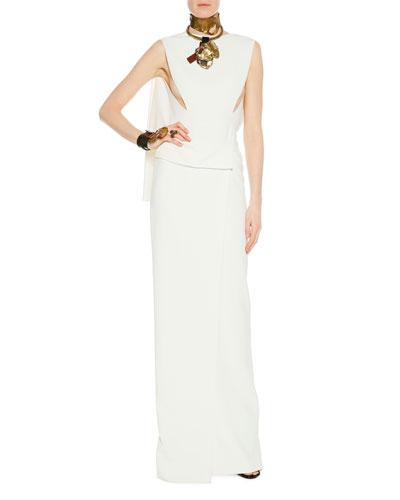Sleeveless Open-Back Wrap-Effect Column Gown, Chalk