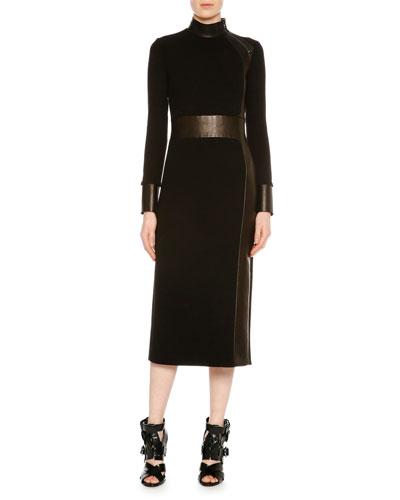 Long-Sleeve Combo Midi Sheath Dress, Black