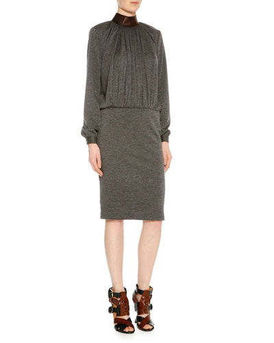 Mock-Neck Blouson Combo Dress, Gray Melange