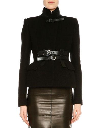Stand-Collar Belted Jacket, Black