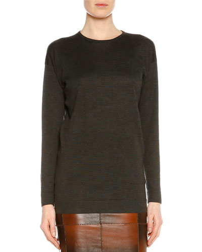 Long-Sleeve Slim-Fit Tunic, Gunmetal