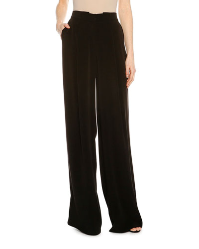 Pleated Fluid Wide-Leg Pants, Black