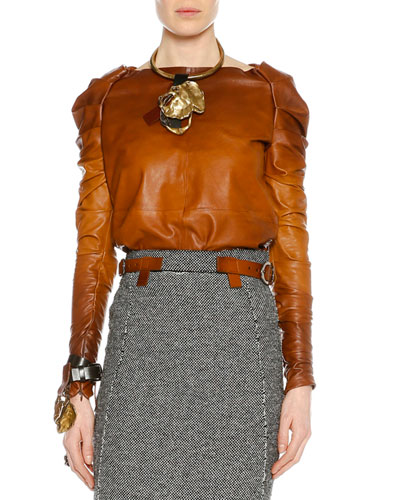 Shirred Long-Sleeve Degrade Leather Top, Cognac