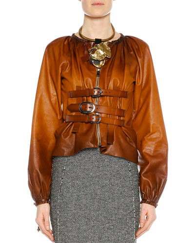 Zip-Front Buckled Leather Degrade Jacket, Cognac