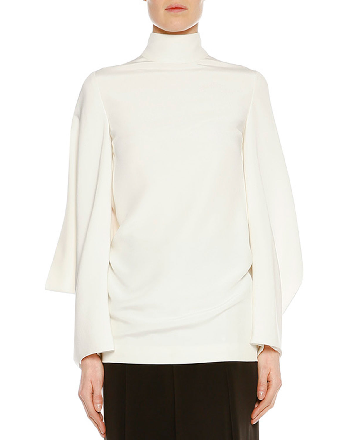 Stand-Collar Batwing Tunic, Chalk