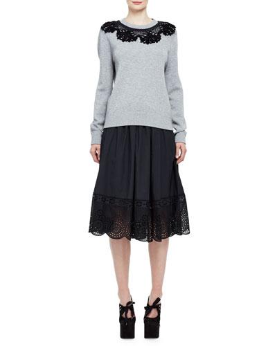 Eyelet-Trim Full A-Line Skirt, Black