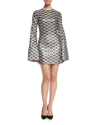 Hexagon-Jacquard Bell-Sleeve Dress, Metallic Gray