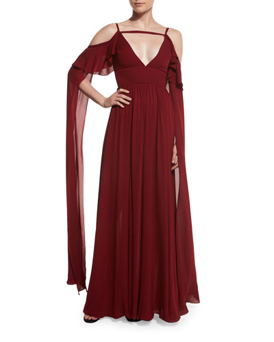 Long-Sleeve Cold-Shoulder Strappy Gown, Carmen