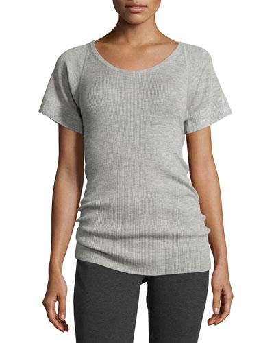 Short-Sleeve Scoop-Neck Cashmere/Silk Top, Pale Gray Melange