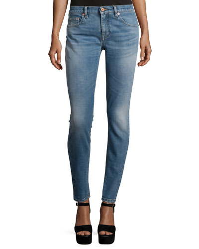 Five-Pocket Skinny Jeans, Washed Indigo