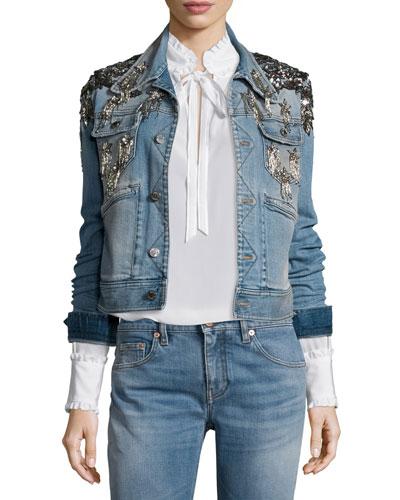 Star-Embellished Denim Jacket, Washed Indigo