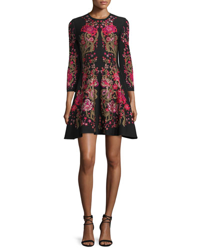 3/4-Sleeve Floral Fit-&-Flare Dress, Black/Fuchsia