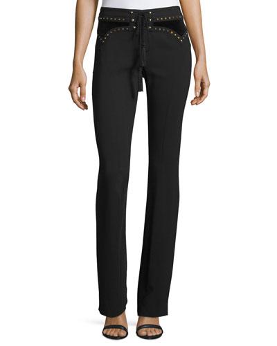 Studded Lace-Up Boot-Cut Pants, Black
