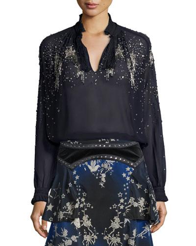Star-Embellished Silk Tunic, Dark Navy