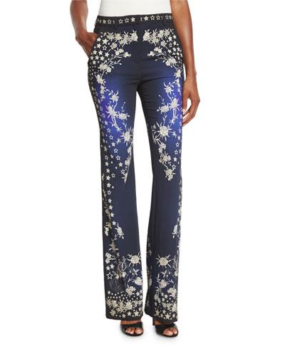 Star-Print Boot-Cut Pants, Blue/Multi