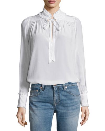 Ruffled-Trim Long-Sleeve Blouse, White
