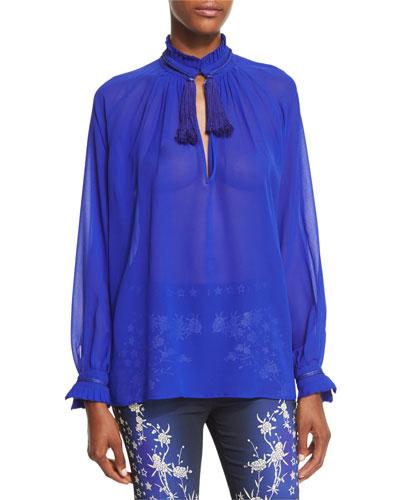 Tassel-Collar Ruffled-Trim Silk Blouse, Cobalt