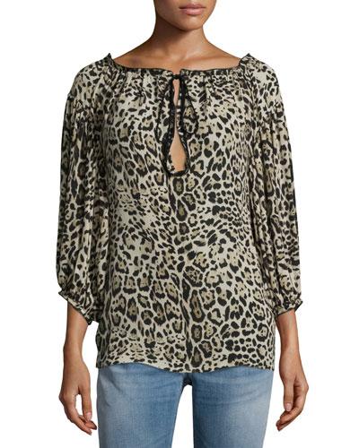 3/4-Sleeve Leopard-Print Peasant Blouse, Brown/Black