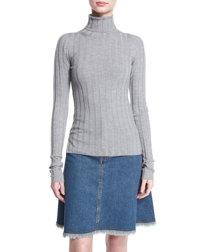 Ribbed Turtleneck Sweater, Silver Gray