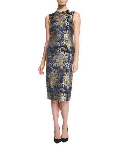Georgia Baroque Silk Brocade Sheath Dress, Petrol/Multi